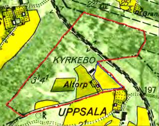 """Karta 1960 med Altorps marker i rött. Blått är en tidigare särskilt inhägnad del av gamla inhägnaden  """"Kyrkebo hagen"""" - jmfr karta längre ner på sidan!"""