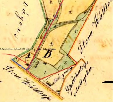 """Flinkebos nya hus 1856 blir så småningom lärarlokal för undervisande """"gubbe"""". Under 1862-1876 var Änkefru Trotzig skriven som arrenderande Flinkebo."""