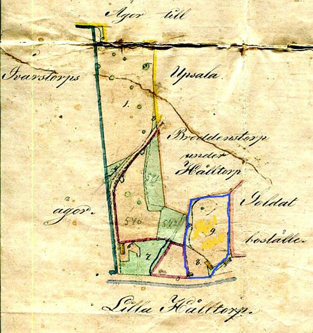Blå gräns utgör trolig odlingsyta för Anders Flinks kontrakt med Hålltorp 1852 - med Sandtaget som boningshus och ladugård på Odallyckan. Hålltorp äger inget av marken enl. senare dom.