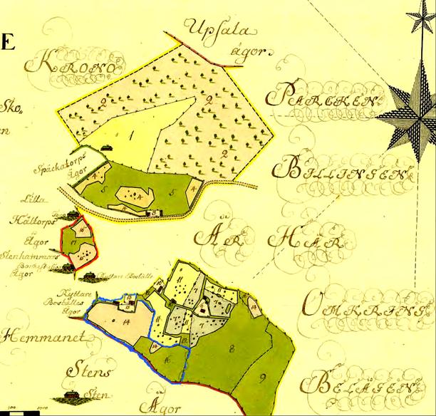 Blått = Soldattorp Nr 330 + rött dess inäga. Röd markering blir senare del av dagens Rosenhill. Klicka på bilden för att se kartan större!