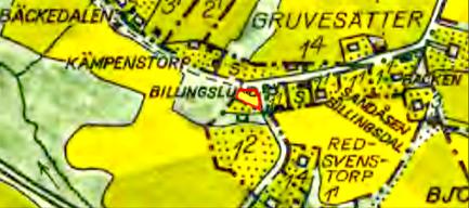 1960 års karta. Med rött markerad mark för del av allmänmmark som Fattigstugan uppfördes på.