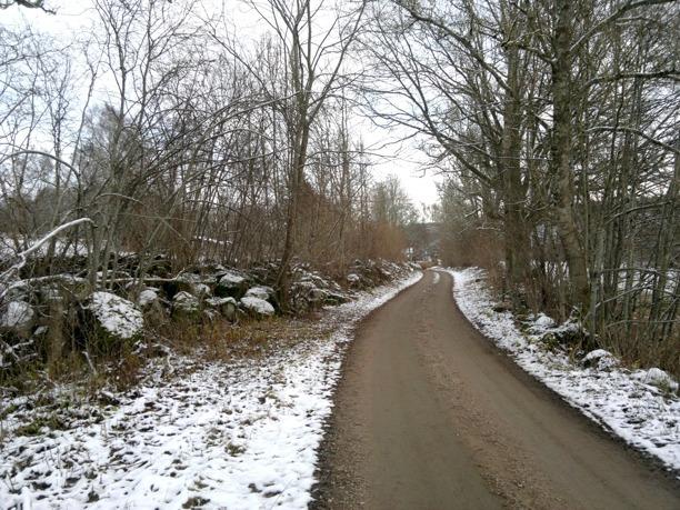 Ljungstorpsvägen närmar sig gamla Flinkebo - nu tomt med sommarstuga. Stenmurarna är gigantiska efter hundratals år av gärdesrensning. Foto Kent Friman, 2013-nov, copyright