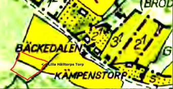 Försök att markera Torp till Lilla Hålltorps markområde med rött från karta 1758.