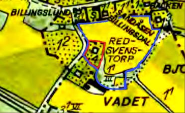 Rött = Vibonätt som avskild fastighet. Blått = Torpets mark under Redsvenstorp. Nuvarande Vibonätt ligger direkt på det gamla torpets husplats läge. Jmfr karta från 1833 nedan!