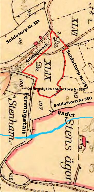 Redsvenstorp med tilldelad mark 1803. Då fanns här inget torp. (Karta från Lantmäteriets Historiska Kartor 1794)
