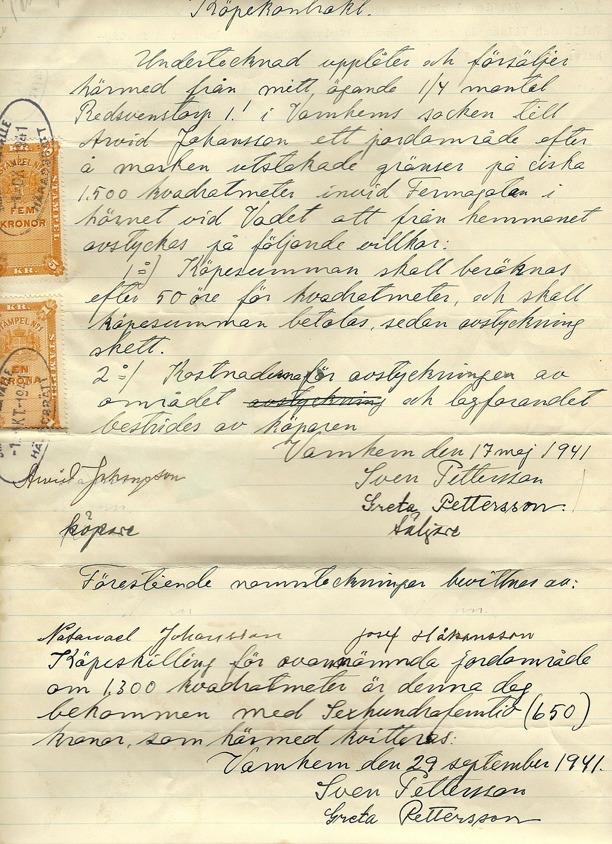 Dokument genom dottern till Arvid Johansson, Ethel Gustafsson, Pickabacken, Varnhem, 2013