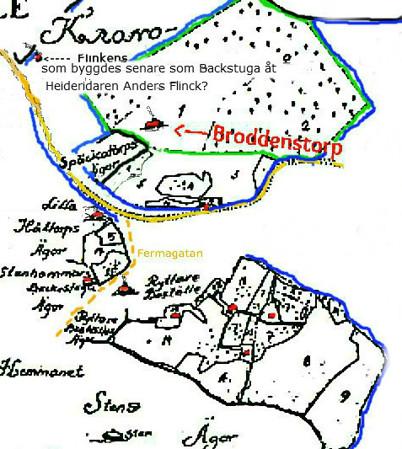 Blått är Kronoparksgränser, grönt är Broddenstorps utvidagade mark och gult är vägar - markerade av KF 2013. Flinkens finns inte på originalkartan!