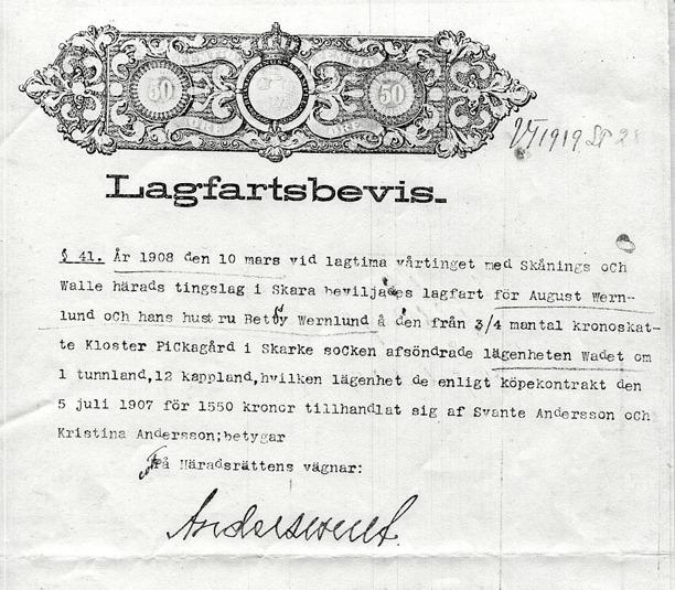 Dokument från Gunborg Ferms samlingar, Ljungstorp, 2013.