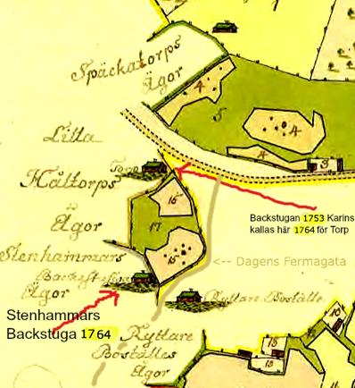 """Detalj av karta 1764 med kommentarer av KF, 2013. Stenhammars """"Backestuga"""" kallas på karta 1801 för Berglid."""