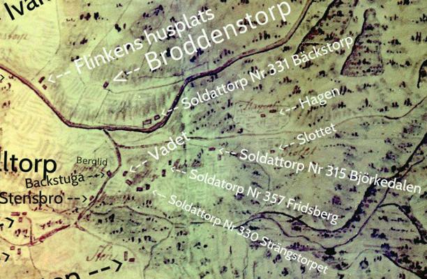 Karta från Backa gårdsarkiv - genom Carl Arvid Tell, 2013.