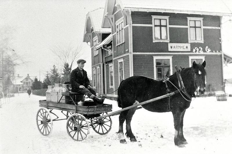 """C. 8 (1) Hålltorps mjölkskjuts vid Varnhems Järnvägsstation år 1926. Kusk Georg Lindström. Hålltorps mjölkskjuts år 1926 då Varnhems mejeri var igång. Kusken hette Georg Lindström. Skjutsen befinner sig utanför Varnhems post- och järnvägsstation, eftersom man också hämtade posten med samma skjuts. Lägg märke tilll granarna på led i Järnvägsparken innanför ett tätt staket.   Lägg också märke till pump och vattenbalja för vattning av hästarna till höger.  Mejerirörelsen upphörde på 1940-talet efter en brand. Ägare var då Magnus Pettersson och hans hustru Anna Pettersson, som var chef och mejerska. Den sist anställde hette Anders Pettersson. Rörelsen hade startats av Magnus Petterssons far """"Petter i Trädgår´n"""". Efter branden öppnade Anna Pettersson bageri i huset. Återförsäljning av mejeriprodukter ingick också till en del.  Senare verksamheter i huset har varit mekanisk verkstad och antikvitetsrörelse. De närmast kända mejerierna i trakten har funnits på gårdarna Rökstorp och Ökull. (Text och bild från artikel i Varnhemsbygden av Arne """"Skultorparn"""" Andersson). Insatt av Kent Friman, 2014-02-26. Läs mer på www.saj-banan.se!"""