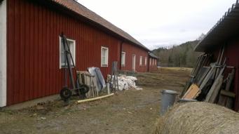 Idag stall för 10-talet hästar. Rejäl och lång byggnad med två olika takhöjder. Foto Kent Friman, 2014, copyright