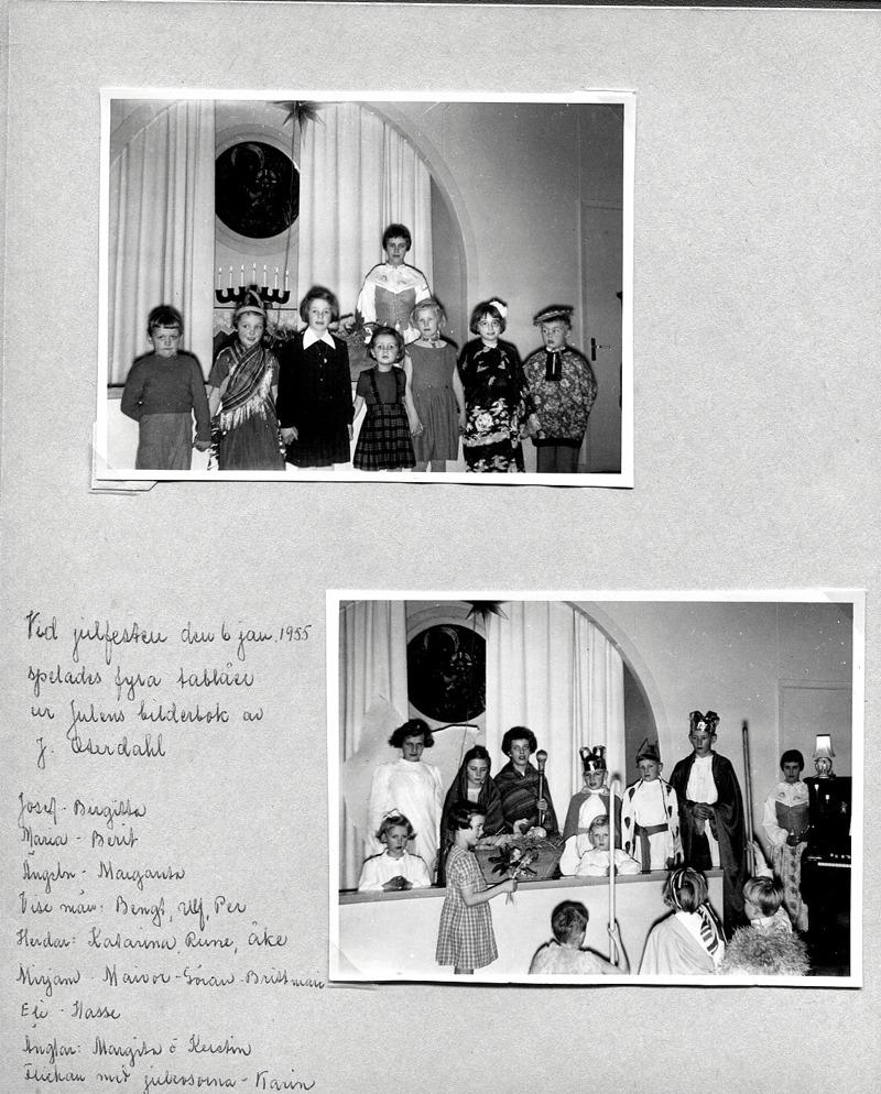 Sid 1. Bild 1: från vänster; Mats Karlsson, Solhem, Britt-Marie Andersson, Fiskargården, Margit Lindh, Björsgården, Ingegerd Haraldsson, Simmesgården, Agneta Olsson, Stationen, Majvor Eriksson, Runhem och Göran Holmberg, Holmedal. I hörnet bakom gruppen syns; Kerstin Lindh, söndagsskollärare vid tiden................ Bild 2: Bak stående från vänster; Kerstin Lann, Lindåkra, Margareta Nilsson, Mossen, Berit Stenberg, St Ulunda, Birgitta Berner, Fogdegården, Per Haraldsson, Simmesgården, (framför) Margita Bjurklo, Prästgården, Ulf Olsson, Stationen, Bengt Lindh, Björsgården och Kerstin Lindh, Björsgården. ............ Flickan med julrosorna Karin Karlsson, Solhem. På knä från vänster; Åke Haraldsson, Simmesgården, Katarina Hellner, Lilla Ulunda och Rune Gustafsson, Sörgården. Infört av Kent Friman, 2014-05-26.