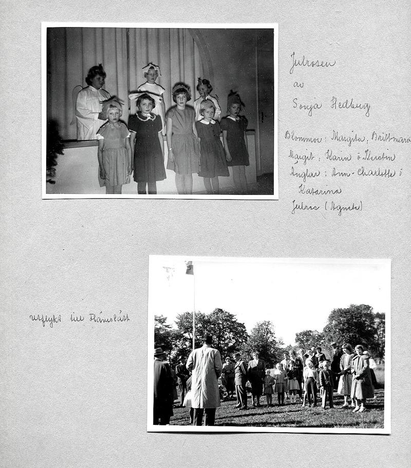 Sid 5. Bild 1: Bakre rad fr vä; Ann-Charlotte Tornberger, Kyrkebo, Agneta Olsson, Stationen och Katarina Hellner, Lilla Ulunda. ...... Främre rad fr vä; Margita Bjurklo, Prästgården, Britt-Marie Andersson, Fiskaregården, Karin Lindahl och Kerstin Lann, Lindåkra. Inskrivet v Kent Friman, 2014-05-27. ............. Bild 2: Fr vä; ?,?,?- i mitten; Per, Edit, Lisbet och Britt-Marie Andersson, Fiskaregården, ?, Märta och Karin Karlsson, Solhem, Agneta Bjurklo, Prästgården, Maja Persson, Simmersgården, (framför) Agneta Olsson, Stationen, (bakom) Gunilla Bjurklo, Prästgården,  (längst bak) Axel Lindh, Björsgården, (längst fram) pojke ?, Berit Jonsson och ?. Inskrivet va Kent Friman, 2014-05-27.