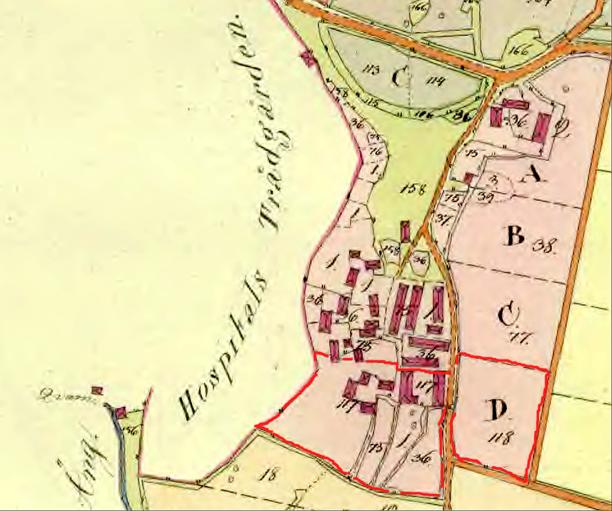 Sörgårdens hustomter och ladugårdsplatser utmärkt med rött på kartan - tolkad av KF 2014.