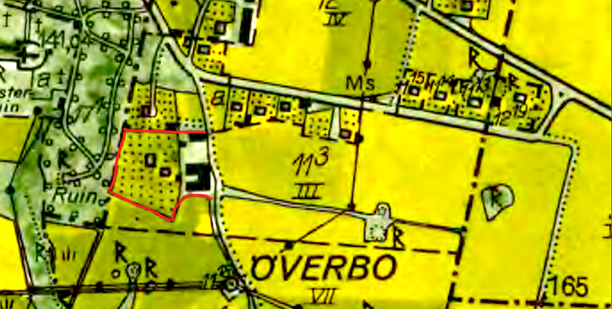 Hus- och ekonomibyggnadsplats för Sörgården markerad med rött på 1960-talskartan. Lantmäteriet Historiska Kartor.