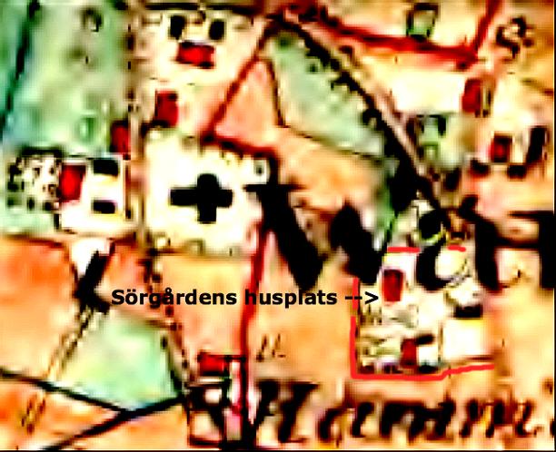 Sörgårdens husplats med två boningshus, ladugård och andra ekonomibyggnader markerad med rött. Karta 1877 Lantmäteriet Historiska Kartor