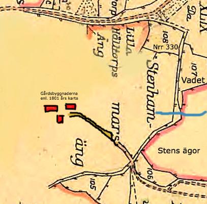Kartan vänd för norr uppåt på kartan. Senare tids Fermagata från Skara-Skövde landsvägen högst upp ner mot bäckavadet (lite bredare fägata på kartan) och vidare upp mot Sten, Stenslund och Stenhammar.