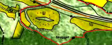 1960 års karta med markering med rött för Stens ägor och svart markerar läget för boningshus för Nybygget Skygget