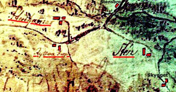 Kartan via Olof Cassmark till Carl Arvid Tell, Backa gård. Den utgör en del av en handritad karta som omfattar området från Skara till Billingen.