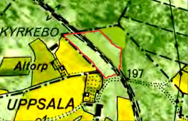 """""""Karta 1960 - röd linje markerar troligt läge för backstuga i terrängen för markområde vid """"Gamla Granbacken"""" enligt muntlig tradition. Jmfr karta nedan!"""