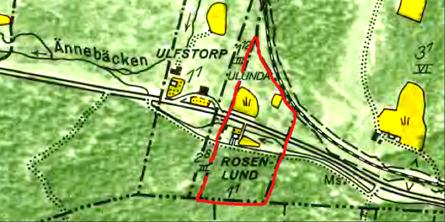 1960 års karta med rött utmärkt Rosenlunds ägor. Den gamla vägen gick då framför huset - vägdelen är kvar på kartan.