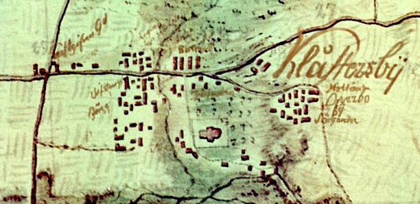 Klicka gärna på bilden för större karta! Kartans ursprung - se ovan! Den påskrivna texten för byar och gårdar har förtydligats av KF, 2014.
