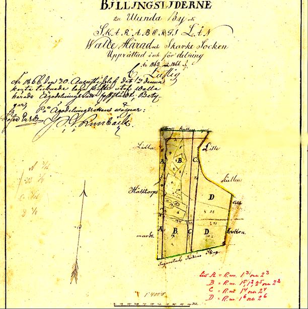 Röd text på kartan är ditskriven vid senare lantmäteriutredning. Lantmäteriet Historiska Kartor.