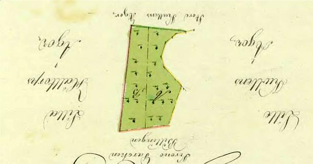 Av någon anledning har kartan hamnat direkt upp och ner på lantmätarens avritning 1819!!! Här rättvänd men med texten upp och ner! Lantmäteriet Historiska Kartor.