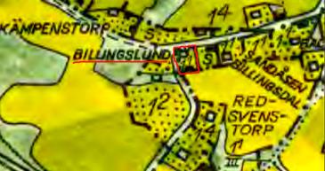 Billingslund markerat med rött på 1960 års karta. Lantmäteriet Historiska Kartor