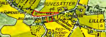 1960 års karta med Smedjebackens tomt- och ladugårdsmark utmärkt med rött. Allt fortfarande på ofri grund (här märkt med S=Samfällighet) - allmän mark.