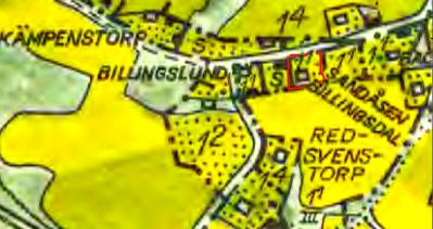 Karta 1960 med Billingsdal 1:1 utmärkt med rött. Lantmäteriet Historiska Kartor