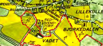 Röd markering ger del av marken för Vadet 1960 efter bl a köp av soldattorp Nr 330 1911 och senare Soldattorp Nr 331. Vadet 1:2 egentligen sålt i det här skedet och har blivit Rosenhill!