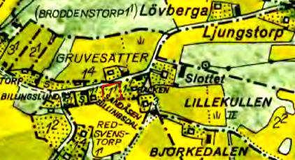 Karta 1960-tal. Sandåsen utmärkt med rött.  Tomten tycks då redan sakna byggnad. Lantmäteriet Historiska Kartor