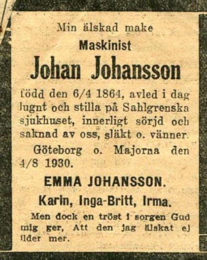 Urklipp från Irma Meyer, 92 år, Skövde - adoptivdotter till Emma Johansson, vid besök i Skövde 2014