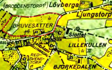 Bäcktorp under Gruvesätter 1960-tal markerat med rött. Lantmäteriet Historiska Kartor