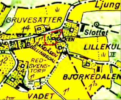 Backens tomtgräns markerad med rött på 1960 års karta. Lantmäteriet Historiska Kartor.
