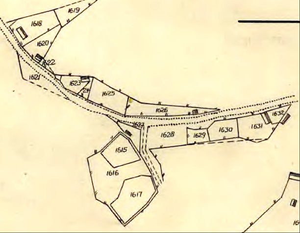 Lantmäteriet Historiska Kartor. Allmänningen renritad karta från originalkartan - se nedan!