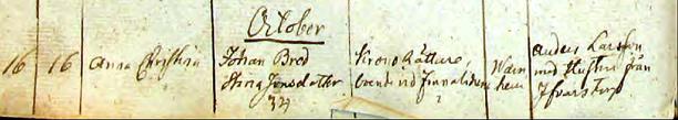 Publiceras med tillstånd av www.ArkivDigital.se; född 16 oktober 1842; Anna Christina - föräldrar; Johan Bred och Stina Jonsdotter, 34 år gammal, Kronorättare boende vid finnaliderna i Warnhem.