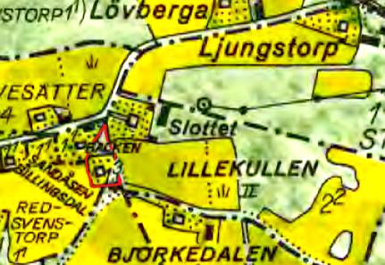 Karlsro utmäkt på 1960 års karta med rött. Lantmäteriet Historiska Kartor