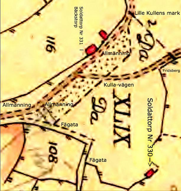Kartan vänd för att få ungefärligt norr uppåt i bilden! Lantmäteriet Historiska Kartor.