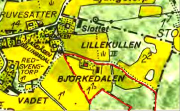 Björkedalen markerat på 1960 års karta med rött. Lantmäteriet Historiska Kartor Klicka på kartan för större karta!