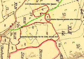Karta 1794. Lantmäteriet Historiska Kartor. Rödmarkerad är in- hägnader som fanns innan skiftet av Billingeliderna 1803. Hem- manet Sten var enstakat (lagligen avskilt från Kronoparken)