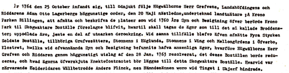 Klicka på texten för större text! Ur artikel av Nils Lann, Ljungstorp i Varnhemsbygden. Renskrivet från karttext för kartan 1764.