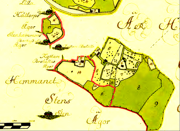 Strängstorpets marker inritade med rött. Lantmäteriet Historiska Kartor