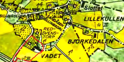 Ungefärlig inritning med rött för Torpet Vadet mot slutet av 1800-talet. Lantmäteriet Historiska Kartor