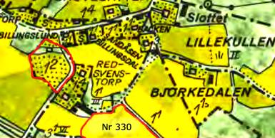 Ungefärligt läge för soldattorp Nr 330's mark  rödmarkerad. Lantmäteriet Historiska Kartor