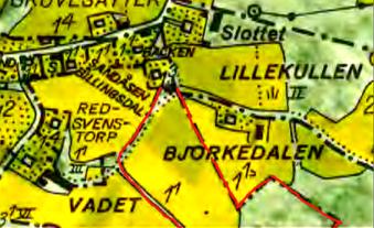 Fridsbergs gränser märkta med rött. Lantmäteriet Historiska Kartor