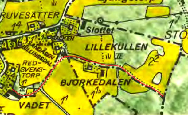 """""""Kulla-vägen"""" markerad på 1960 års karta med rött. Lantmäteriet Historiska Kartor"""