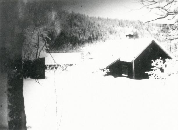 Lilla Slottet Ljungstorp. Då var detta ett torp under Hålltorp. Här bodde Henning och Emma Persson med fyra barn. Torpet revs på 1940- talet, troligen runt 1945. På bilden kan man se att det är övergivet, då ingen eldat i skorstenen för vintern. Foto troligen Nils Lann. Bild från Skarke-Varnhems Hembygdsförenings digitala arkiv; www.varnhemshistoria.se
